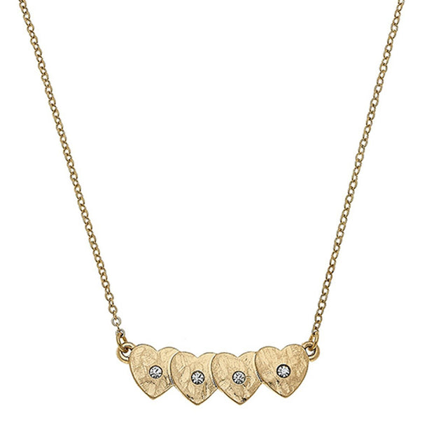 Jenna Hearts Bar Necklace In Worn Gold