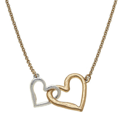 Jillian Interlocking Hearts Necklace In Worn Gold & Worn Silver