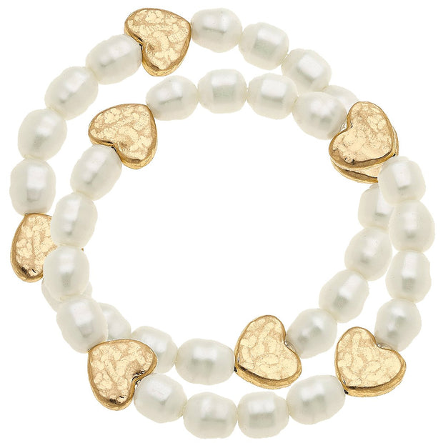 meredith heart bracelets in ivory pearl