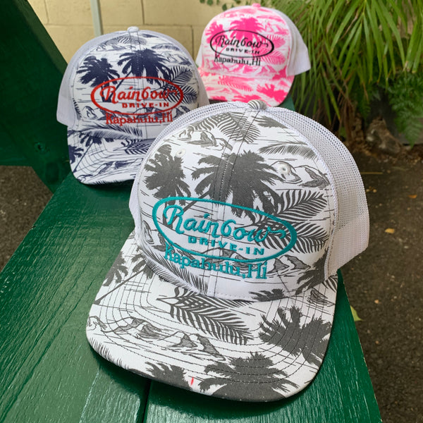 Aloha Print Trucker Hats, White