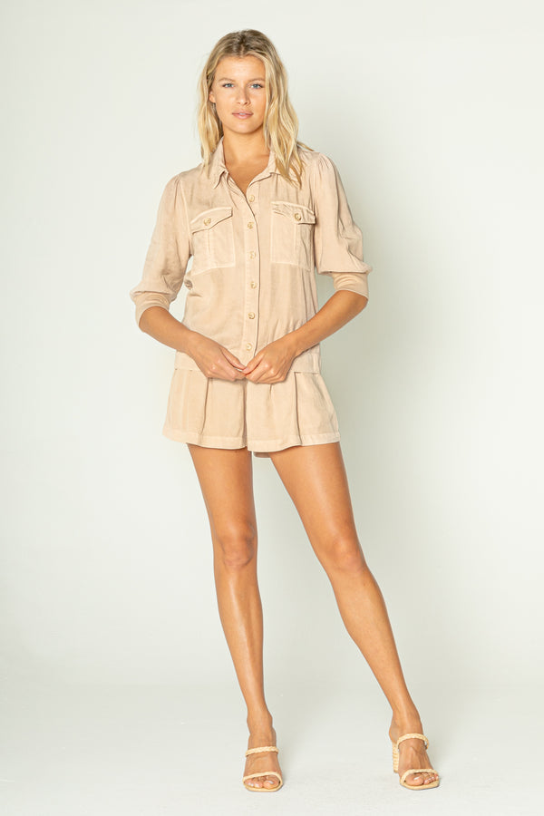 Long Sleeve Button Down Cargo Pocket Top