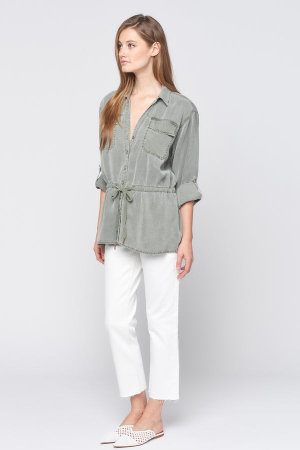 Long Sleeve Drawstring Button Down Shirt