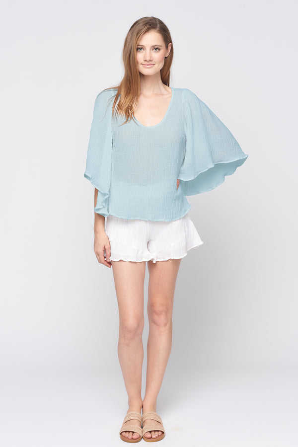 Volume Sleeve Drop -neck Top