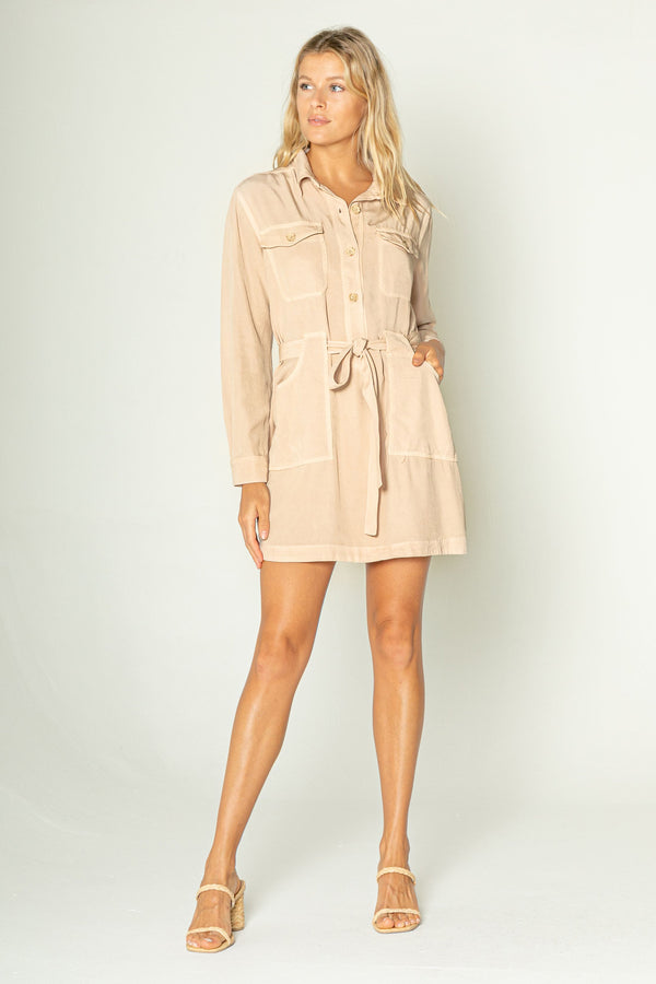 Long Sleeve Cargo Pocket Dress