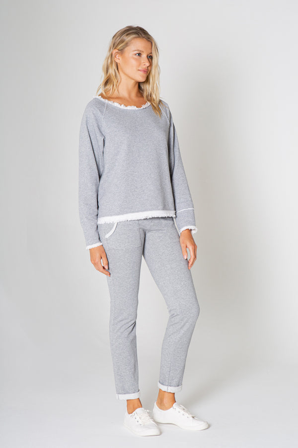 ROUND NECK HEATHER GREY LONG SLEEVE TOP WITH FRAY TRIMING