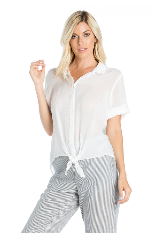 Short Sleeve Tie Front Top