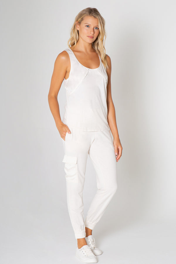 Silky Wash Satin Trim Fray Tank  Top