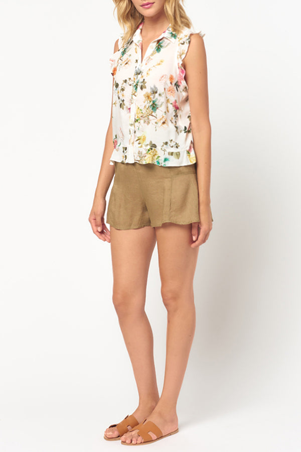 Linen Side Flare Shorts