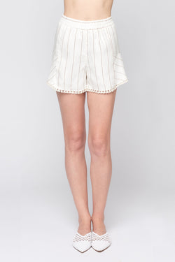 Wide Stripe Fray Shorts
