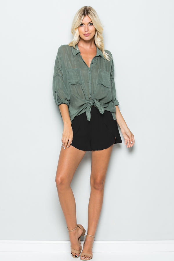 Draped Ruffle Shorts Black