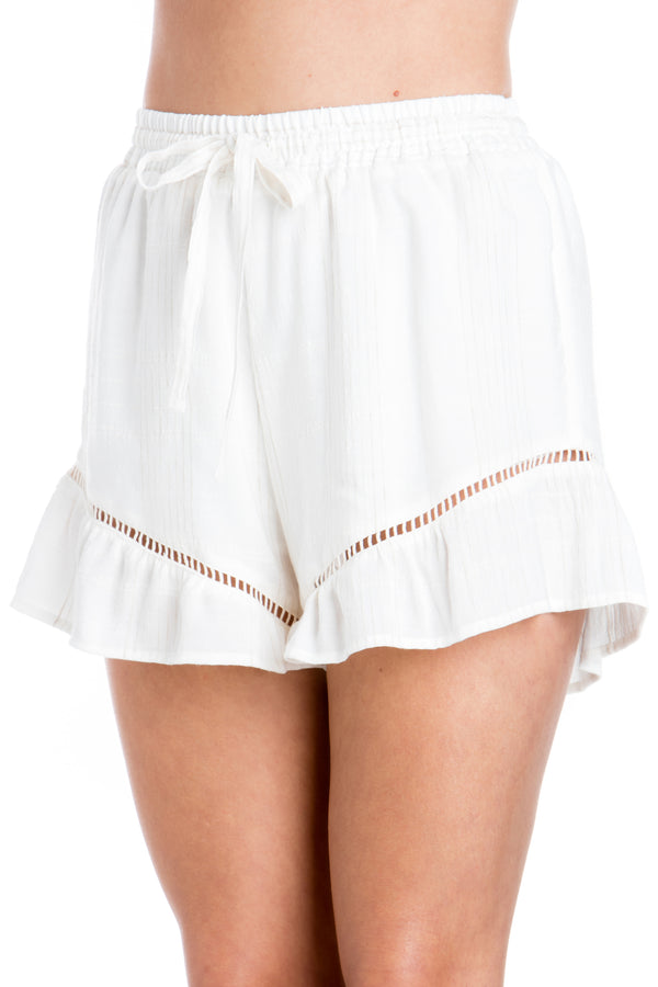 Lace Inlay Ruffle Shorts