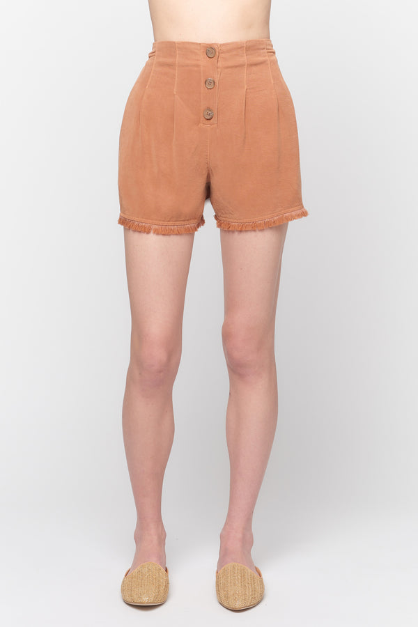 Front Button Fray Hem Shorts