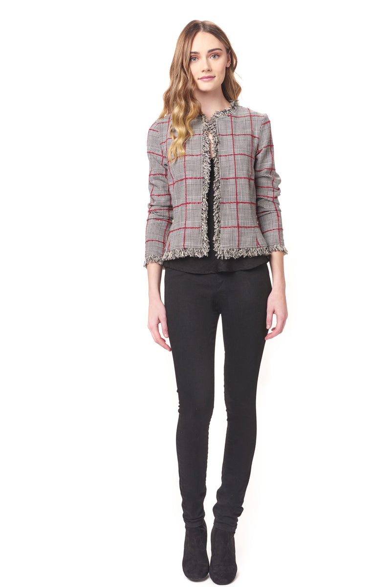 Fray Plaid Blazer