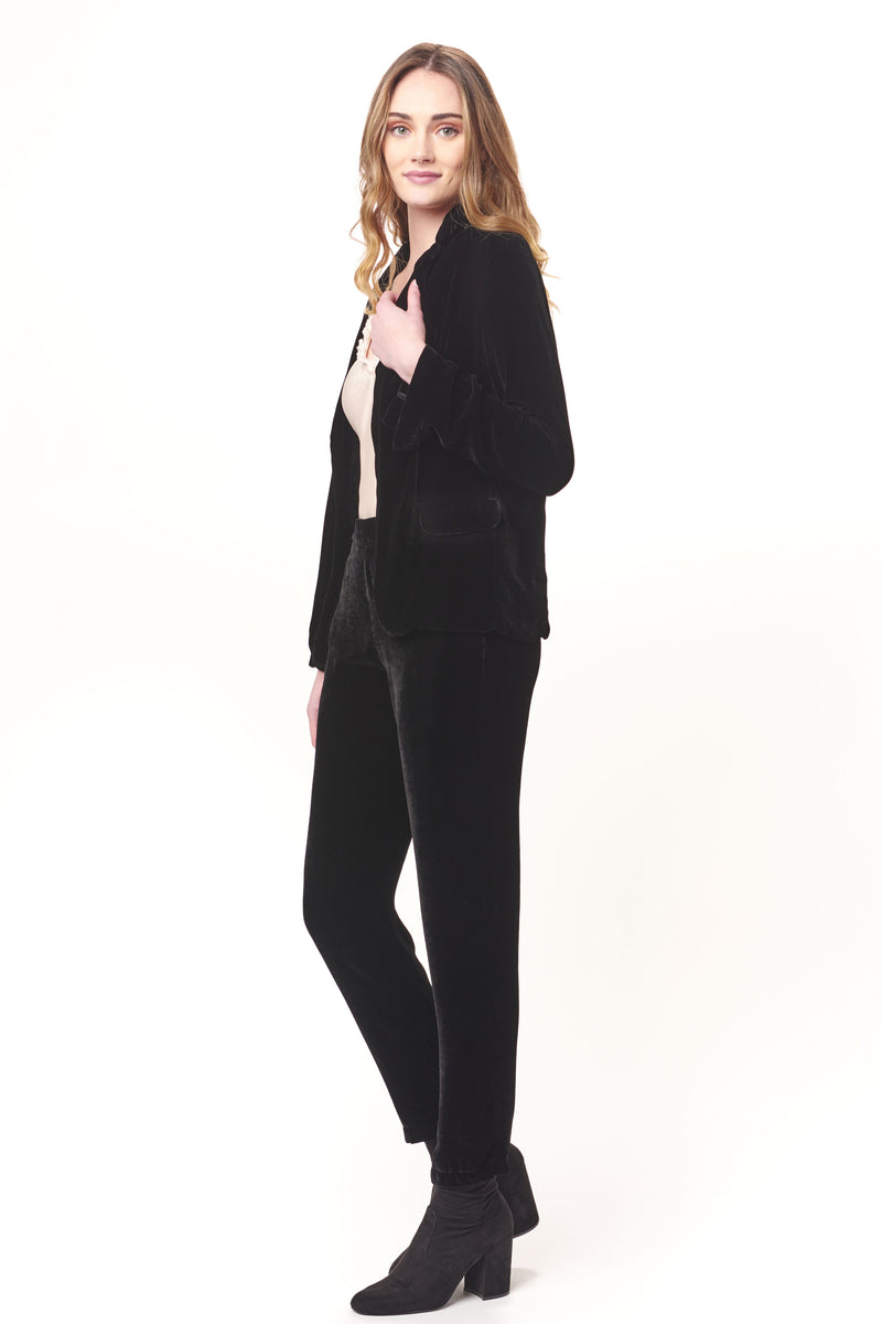 Long Sleeve Silk Velvet Blazer