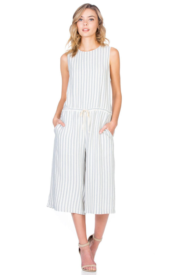 Drawstring Natural Stripe Jumpsuit