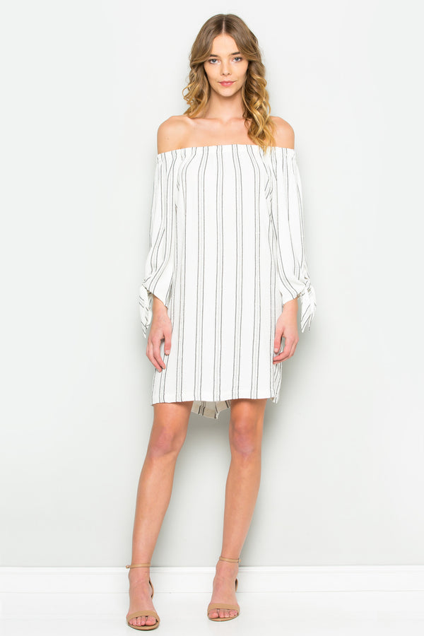 Off The Shoulder Tie Knot Sleeve Dress