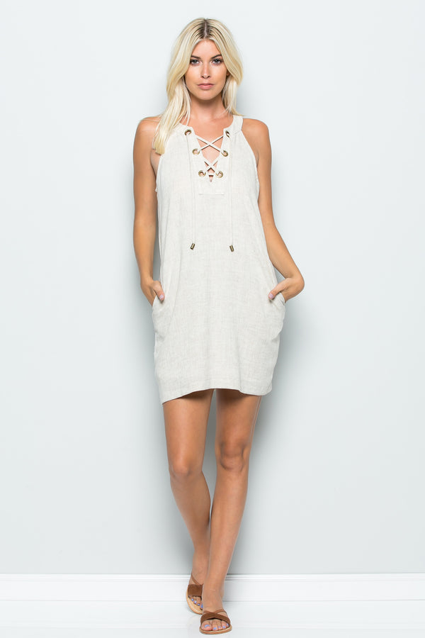 Lace Up Pocket Shift Dress