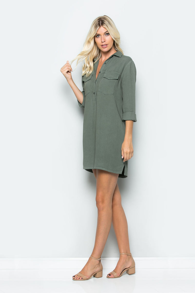 Cargo Pocket Shirt Dress