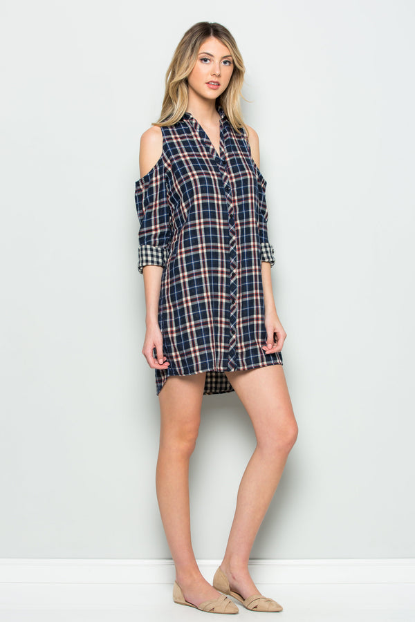 Reversible Plaid Cold Shoulder Dress