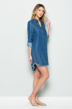 Mandarin Collar Denim Dress