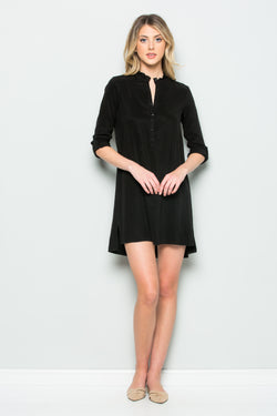 Mandarin Ruffle Collar Dress