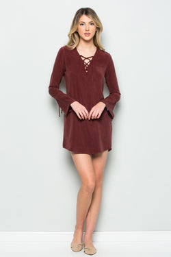 Long Sleeve Lace-up Dress