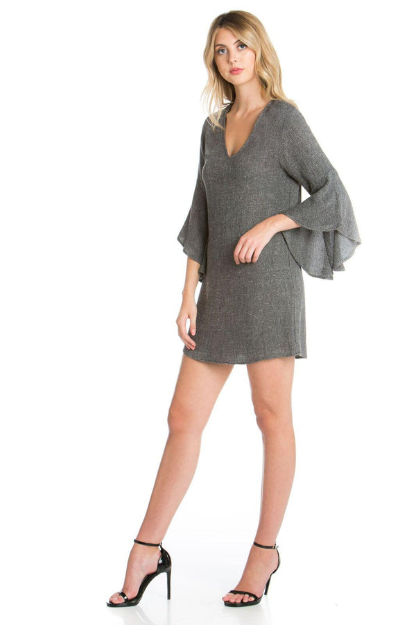 Bell Sleeve V-neckline Dress