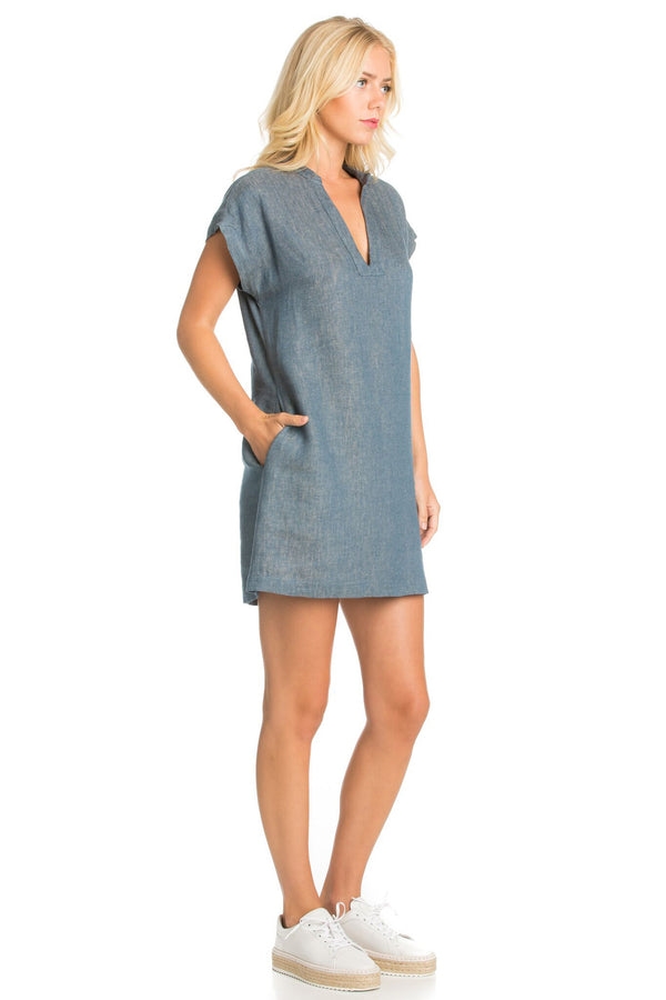 Short Sleeve Chambray Dress