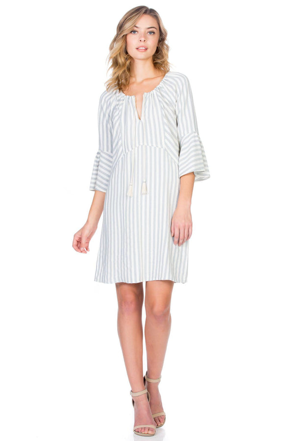 3/4 Sleeve Natural Stripe Dress