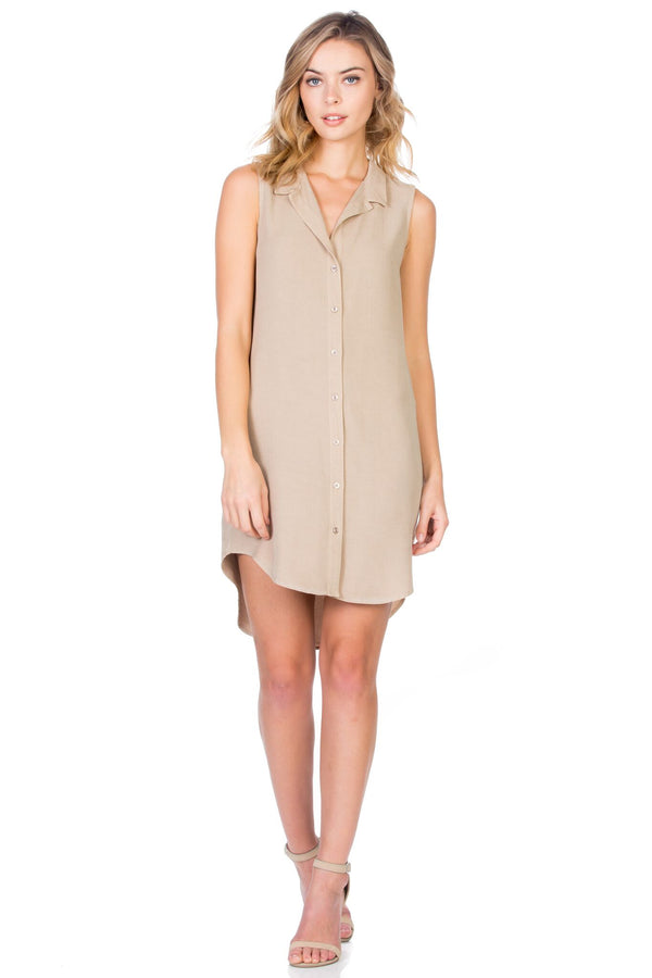 Button Up Sleeveless Shirt Dress