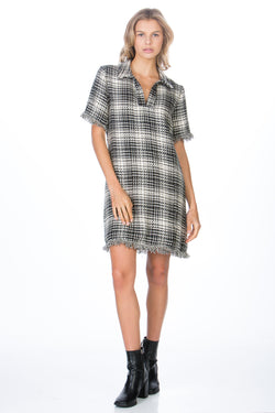 Fray shirt dress in Black / off white plaid