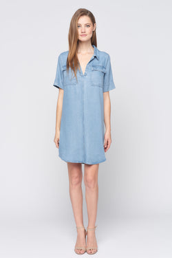Short Sleeve Chambray Denim Dress
