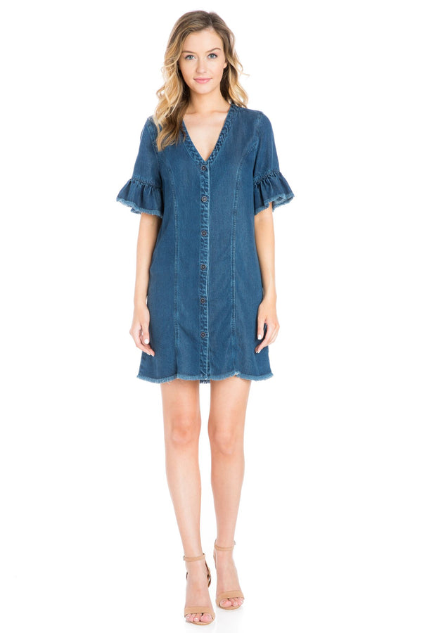 Frayed Denim Dress