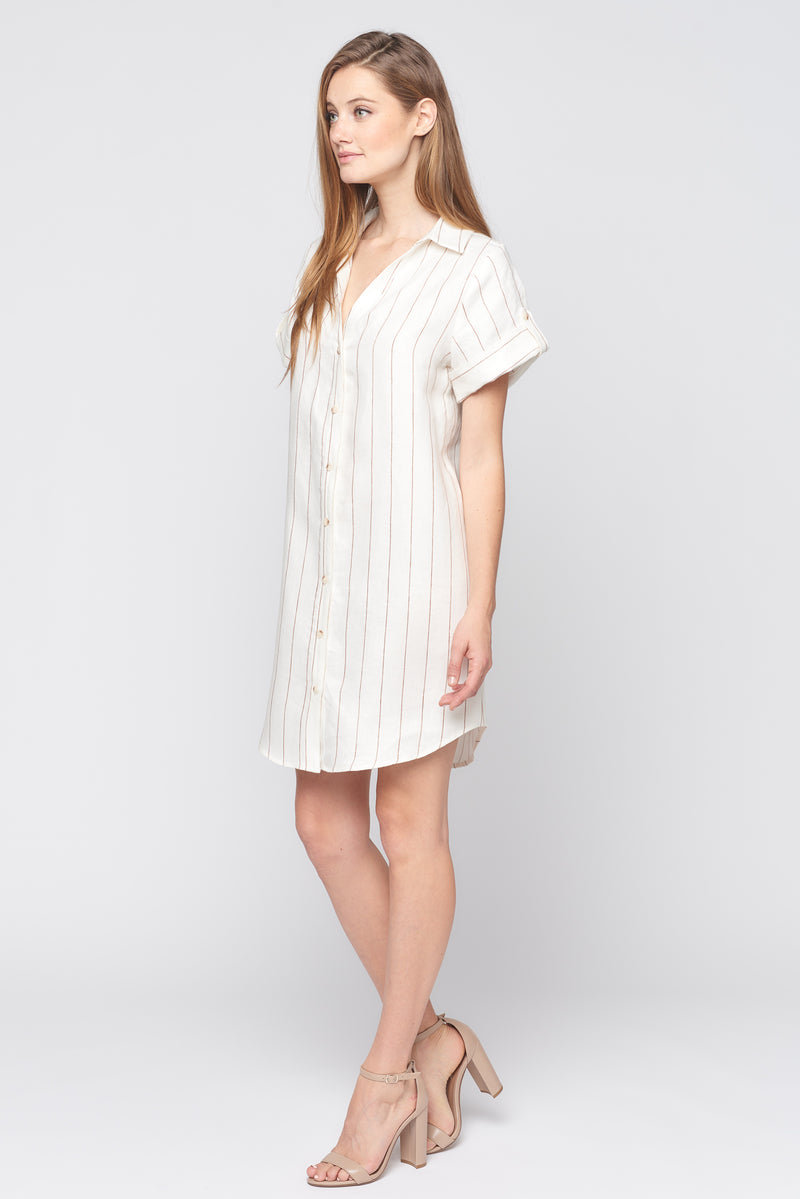 Short Sleeve Button Down Dress