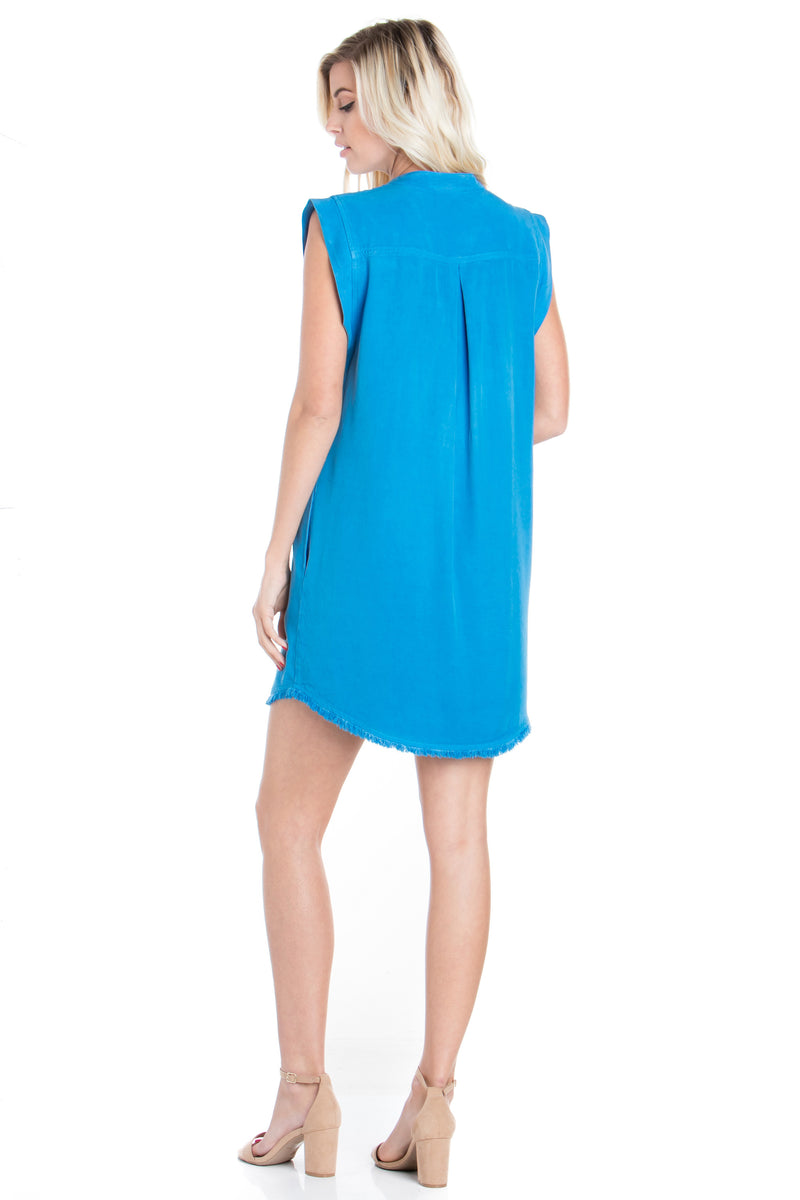 Short Sleeve Fray A-line Dress