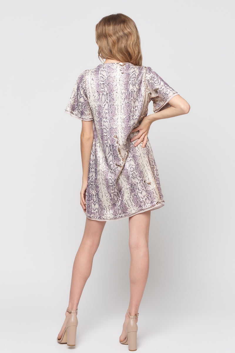 Short Sleeve Python Sequin Dress
