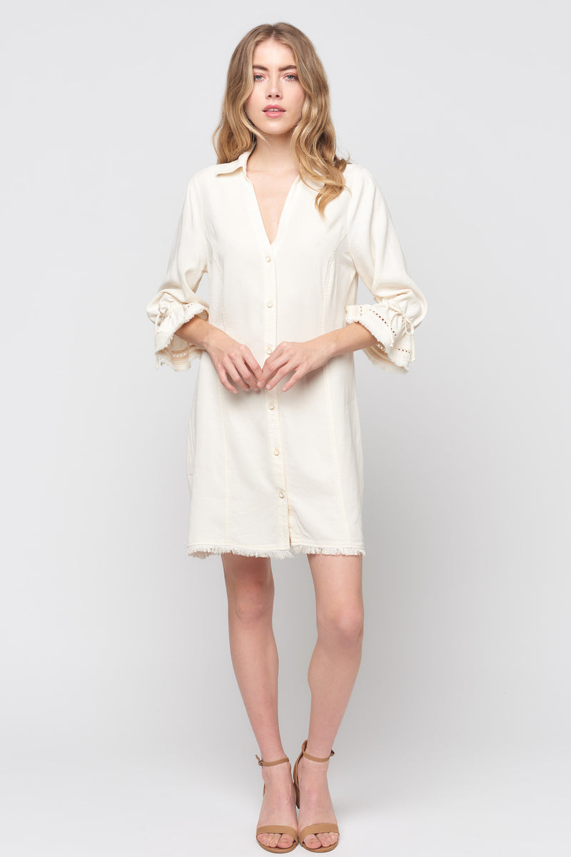 Ruffle Sleeve Button Down Dress