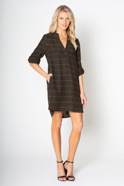 Silky Wash Cupro / Cotton V-Neck Long Sleeve Dress