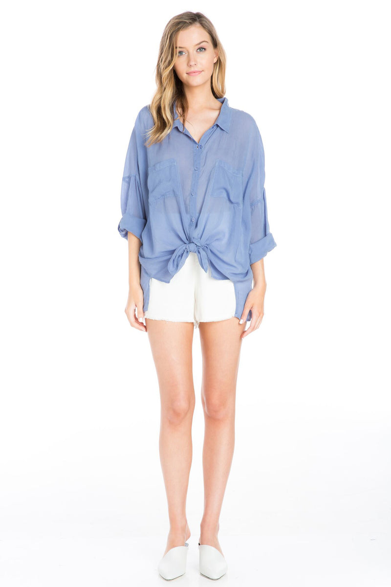 Cargo Pocket Tie Front Top Periwinkle