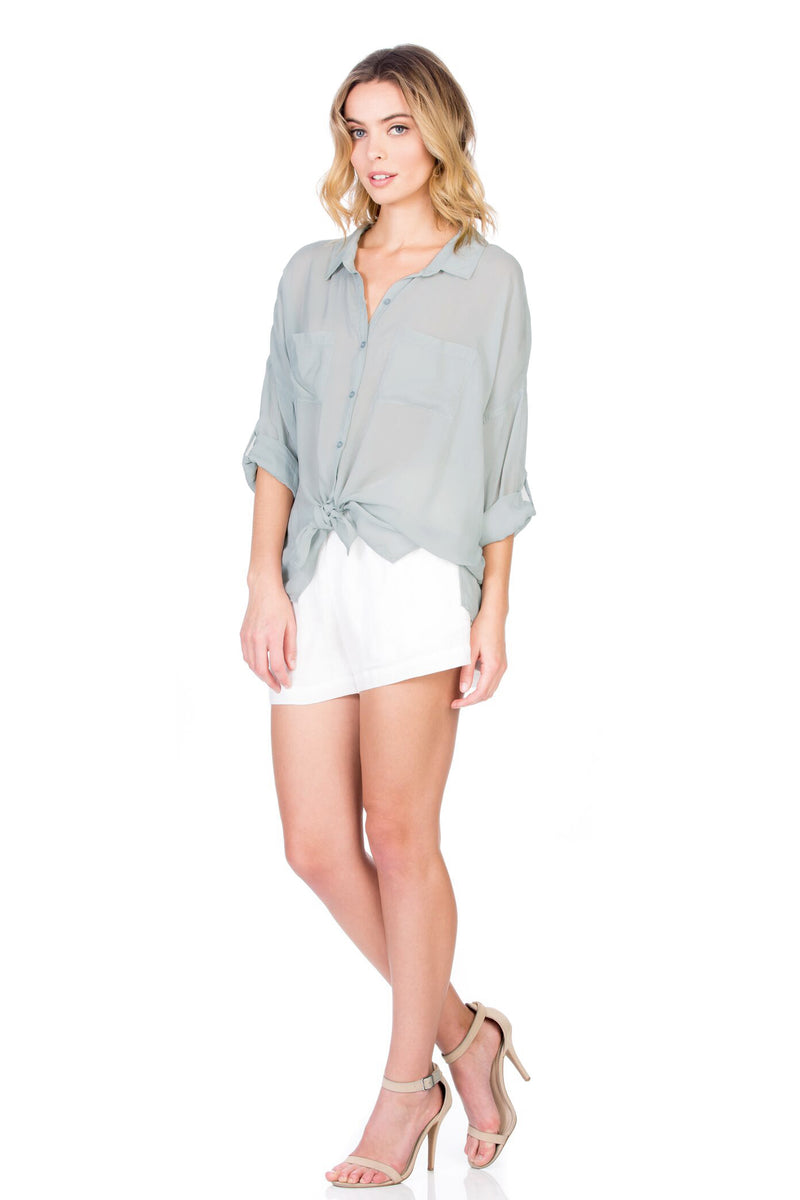Cargo Pocket Tie Front Top Mint