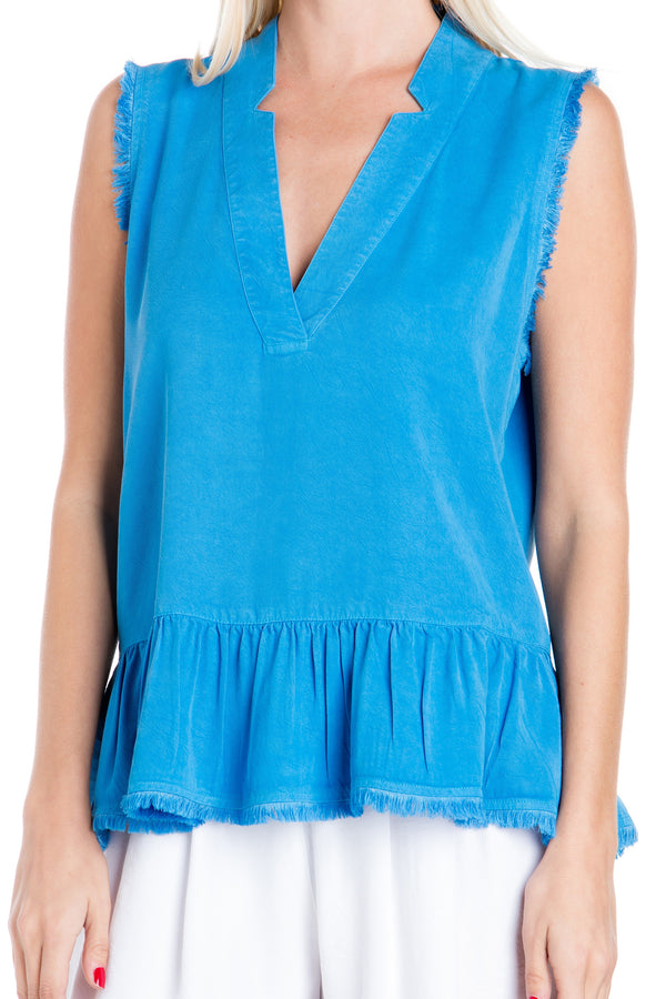 Sleeveless Peplum Fray Top