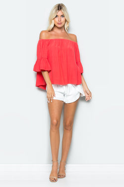 Ruffle Off Shoulder Shift Top