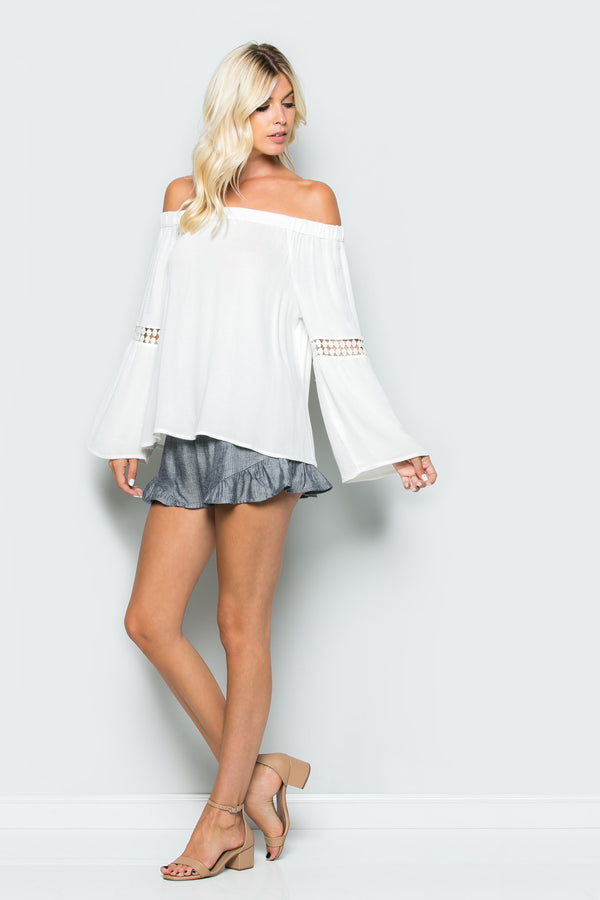 Off Shoulder Lace Inlay Top