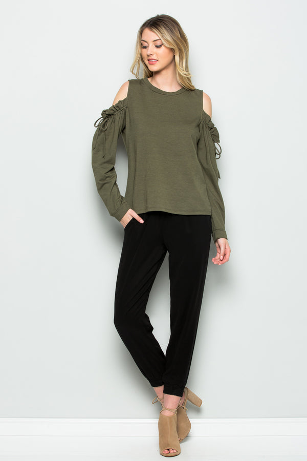 Long Sleeve Tie Cold Shoulder Top