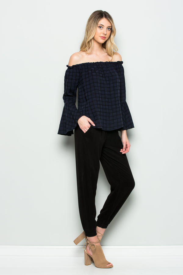 Off Shoulder Flare Bell Sleeve Top