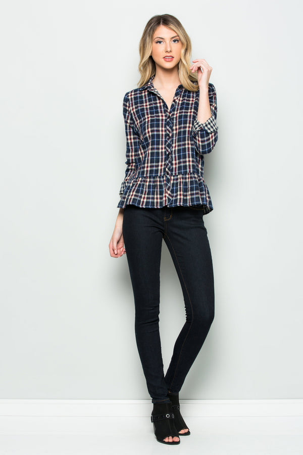 Reversible Plaid Peplum Top