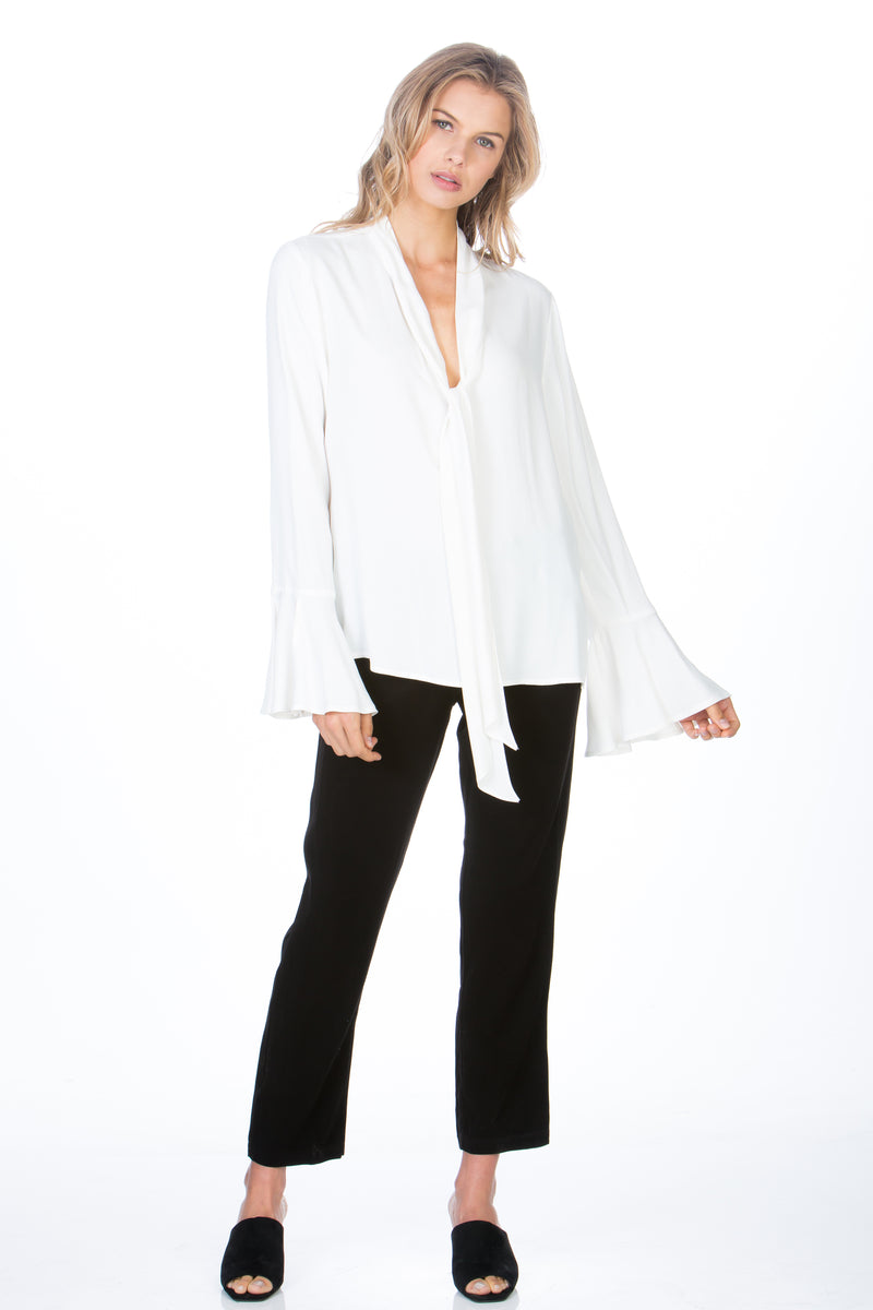 Bell Sleeve Tie Neck Top