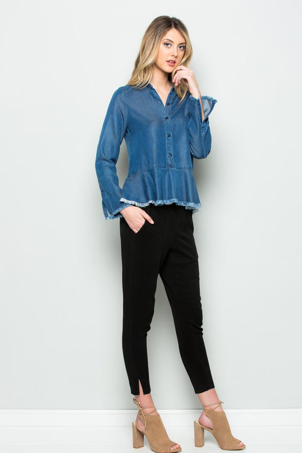 Silky Wash Tencel Long Sleeve Denim  Peplum Top