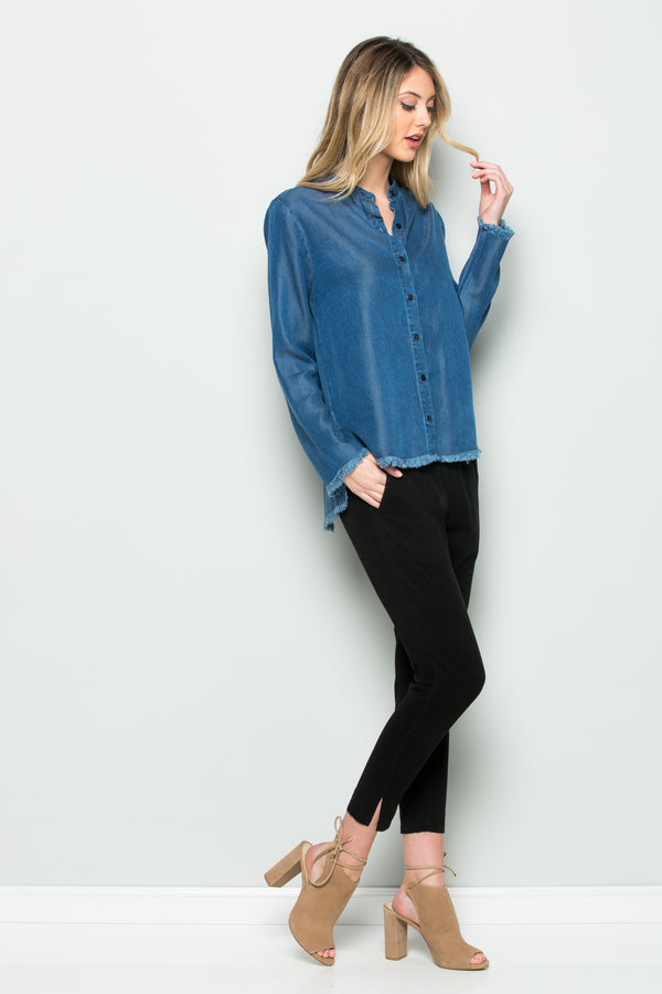 Long Sleeve Denim Collar Top