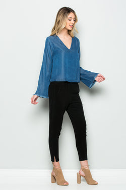 Long Sleeve V-Neck Denim  Top